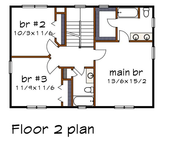 Modern Floor Plan - Upper Floor Plan #79-298