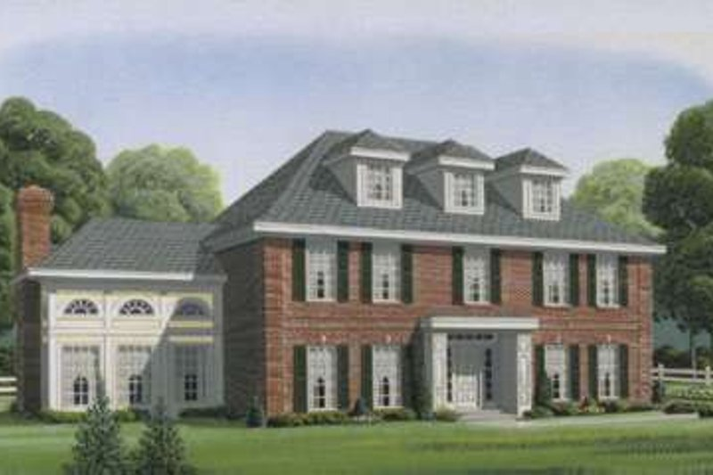 Colonial Style House Plan - 5 Beds 3.5 Baths 3503 Sq/Ft Plan #410-139 Exterior - Front Elevation