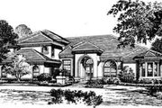 European Style House Plan - 4 Beds 4.5 Baths 4217 Sq/Ft Plan #135-118 Exterior - Front Elevation