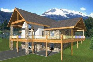 Log Exterior - Front Elevation Plan #117-560