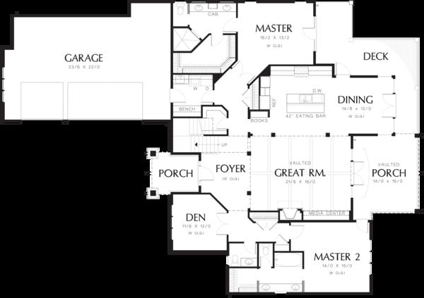 House Plan Design - Craftsman style house plan, main level floor plan