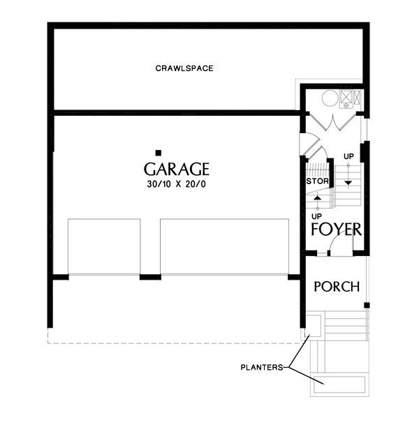 Contemporary Floor Plan - Lower Floor Plan #48-1009
