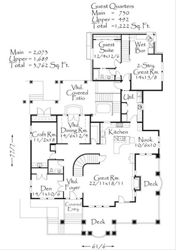Craftsman Style House Plan - 5 Beds 3.5 Baths 4984 Sq/Ft Plan #509-24 Floor Plan - Main Floor Plan