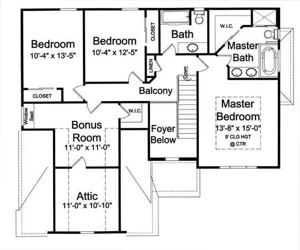 Traditional Floor Plan - Upper Floor Plan Plan #46-495