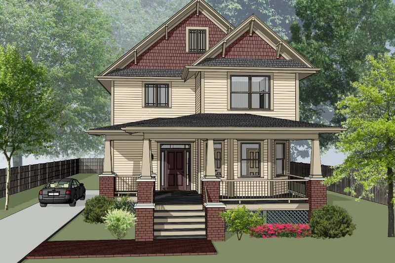 Country Style House Plan - 4 Beds 3 Baths 2418 Sq/Ft Plan #79-279 Exterior - Front Elevation