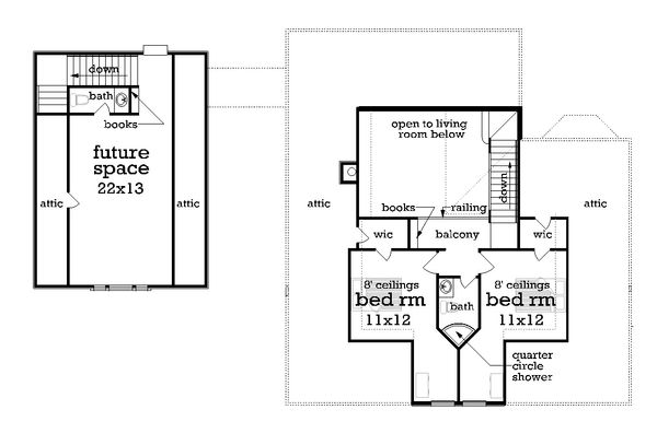 Southern Floor Plan - Upper Floor Plan Plan #45-571