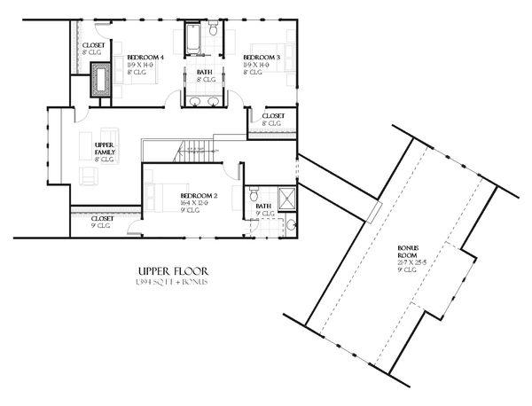 Tudor Floor Plan - Upper Floor Plan Plan #901-99