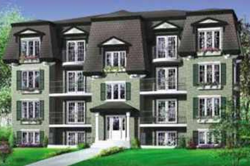 European Style House Plan - 3 Beds 1 Baths 9856 Sq/Ft Plan #25-305 Exterior - Front Elevation