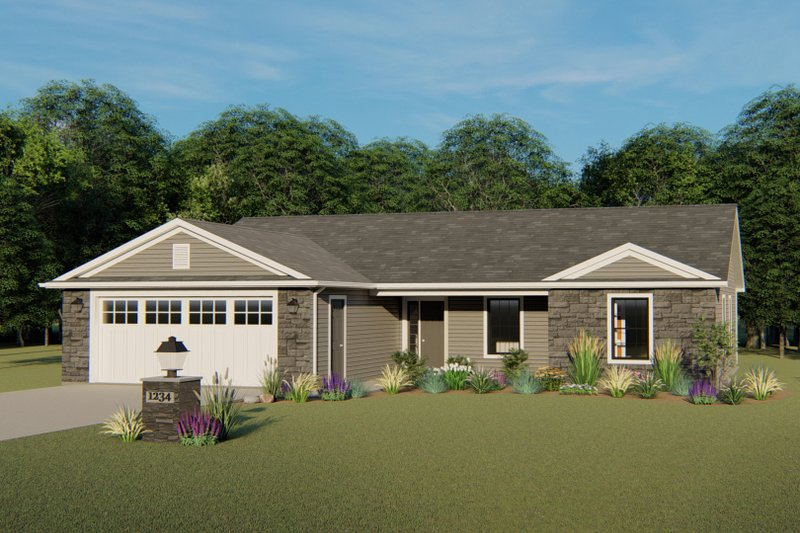 Ranch Style House Plan - 3 Beds 2.5 Baths 1338 Sq/Ft Plan #1064-32 Exterior - Front Elevation