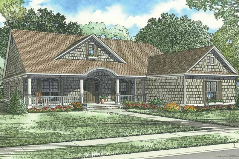 Traditional Style House Plan - 4 Beds 2 Baths 2286 Sq/Ft Plan #17-1086 Exterior - Front Elevation
