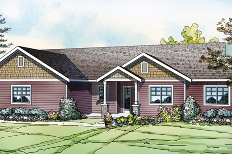 Ranch Style House Plan - 3 Beds 2 Baths 1639 Sq/Ft Plan #124-883 Exterior - Front Elevation