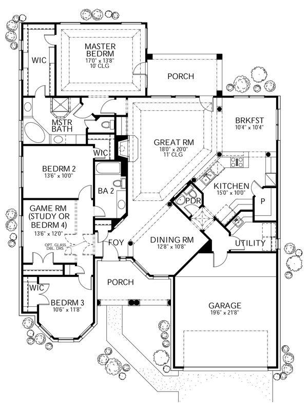 Mediterranean Floor Plan - Main Floor Plan Plan #80-143