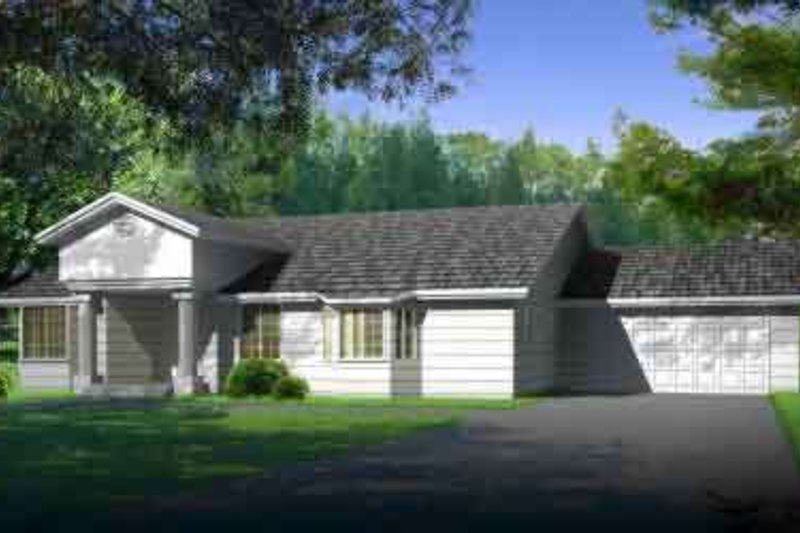 Adobe / Southwestern Style House Plan - 4 Beds 3 Baths 2271 Sq/Ft Plan #1-1449 Exterior - Front Elevation