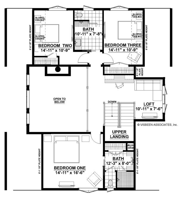 Farmhouse Floor Plan - Upper Floor Plan Plan #928-328