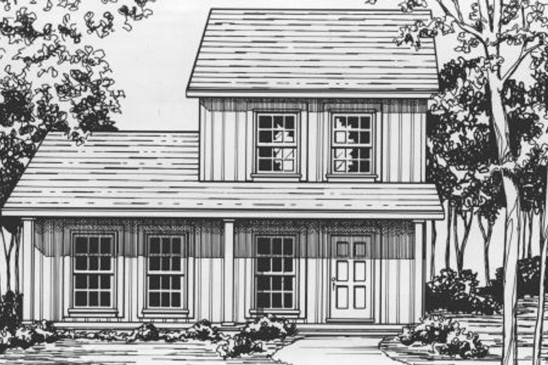 Cottage Style House Plan - 3 Beds 2 Baths 1136 Sq/Ft Plan #30-192 Exterior - Front Elevation