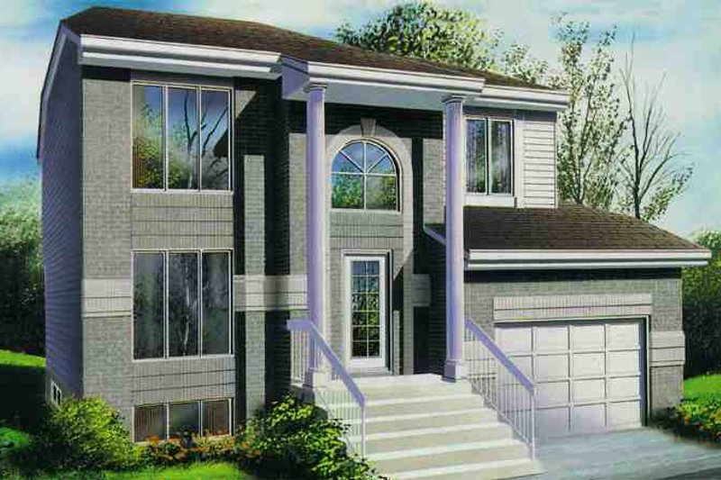 Contemporary Style House Plan - 4 Beds 1.5 Baths 1670 Sq/Ft Plan #25-2164 Exterior - Front Elevation
