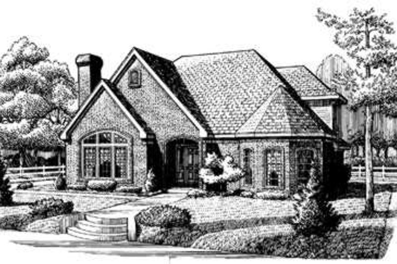 Cottage Exterior - Front Elevation Plan #410-364