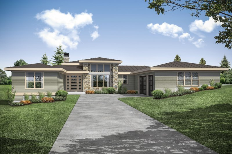 Contemporary Exterior - Front Elevation Plan #124-1171