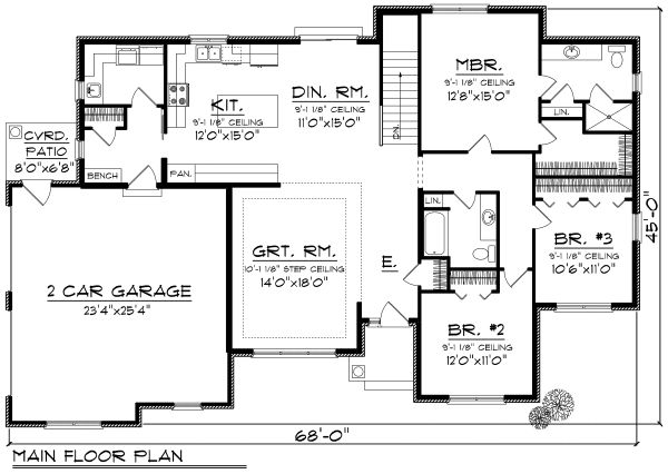 Ranch Floor Plan - Main Floor Plan Plan #70-1165