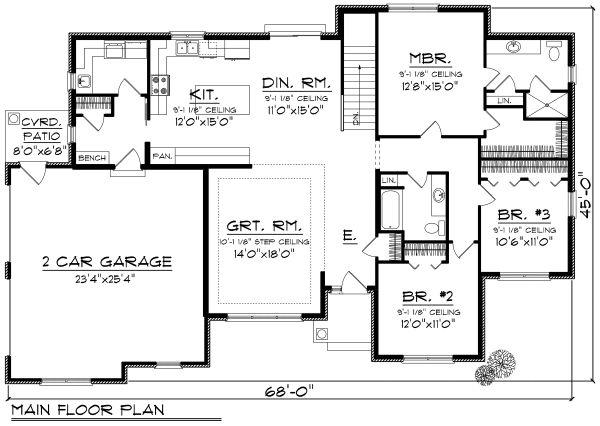 Ranch Floor Plan - Main Floor Plan Plan #70-1165