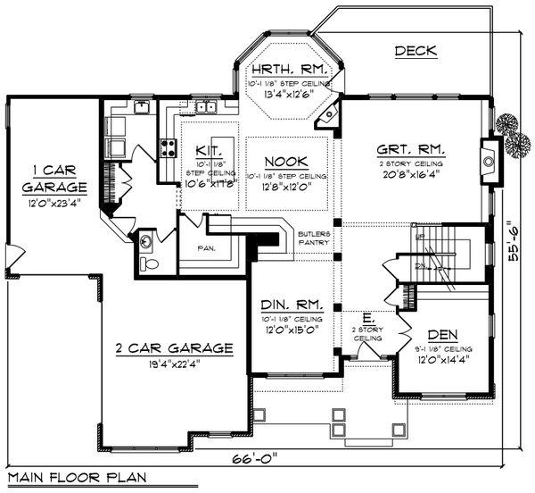 Craftsman Floor Plan - Main Floor Plan Plan #70-1253