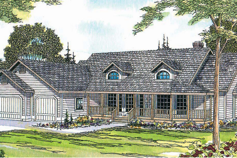 Ranch Exterior - Front Elevation Plan #124-413
