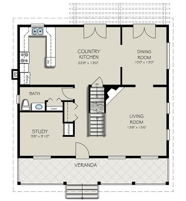 Dream House Plan - Country Floor Plan - Main Floor Plan #427-1