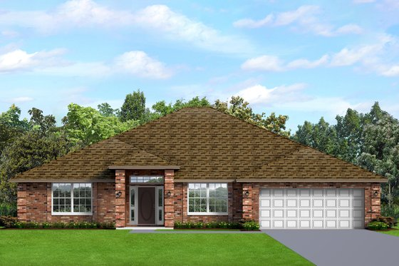 Ranch Exterior - Front Elevation Plan #1058-194