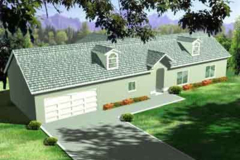 Country Style House Plan - 3 Beds 3 Baths 2152 Sq/Ft Plan #1-1436 Exterior - Front Elevation
