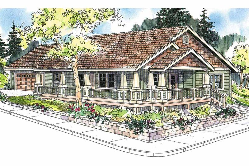 Architectural House Design - Craftsman Exterior - Front Elevation Plan #124-617