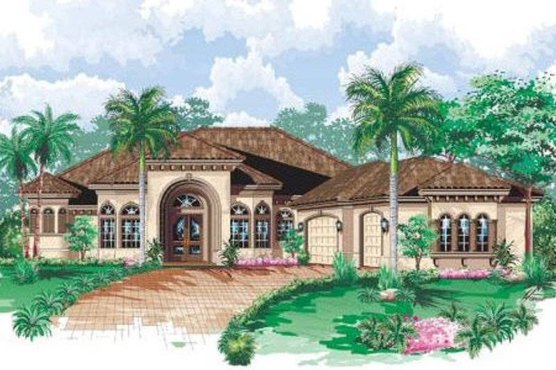 Mediterranean Style House Plan - 4 Beds 4.5 Baths 3650 Sq/Ft Plan #27-229 Exterior - Front Elevation