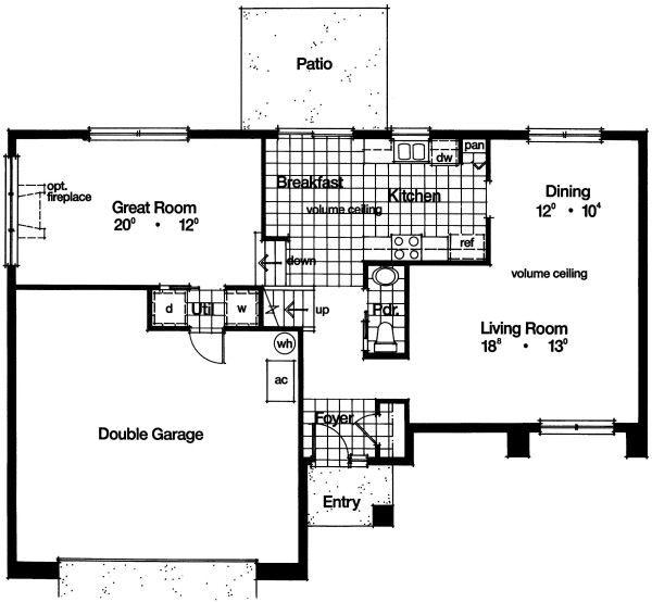 Mediterranean Floor Plan - Main Floor Plan Plan #417-177
