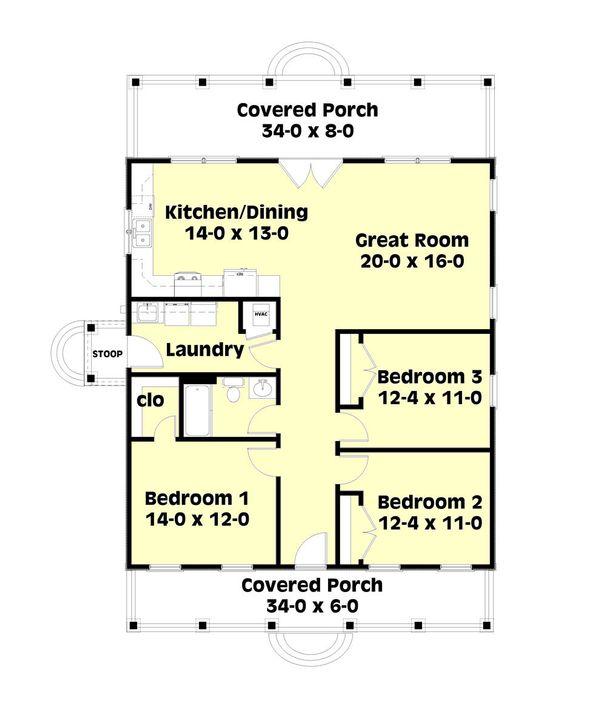 Cottage Floor Plan - Main Floor Plan Plan #44-166
