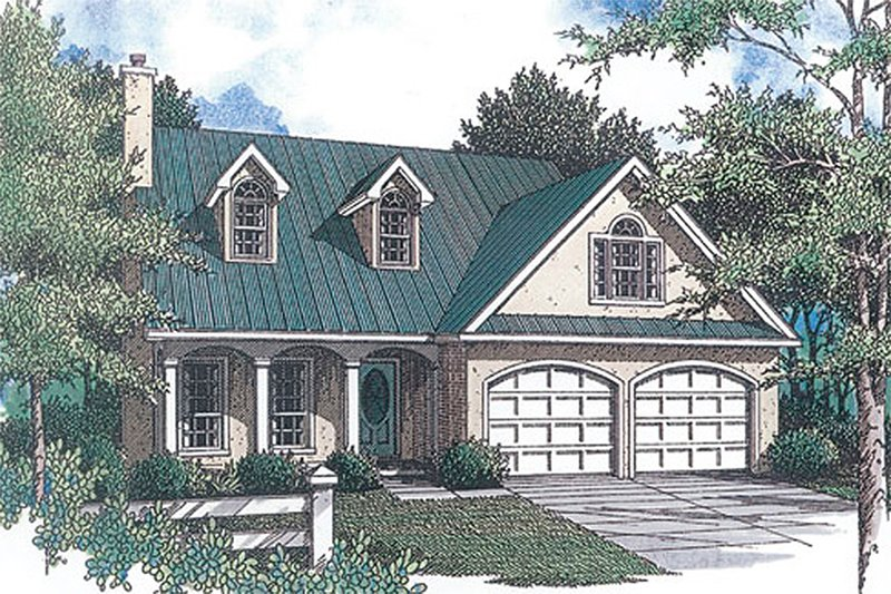Traditional Style House Plan - 3 Beds 2.5 Baths 1815 Sq/Ft Plan #14-219 Exterior - Front Elevation