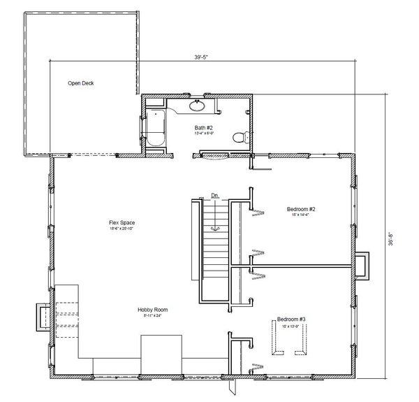 Colonial Floor Plan - Upper Floor Plan #451-26