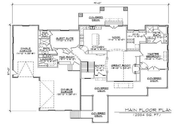 Craftsman Floor Plan - Main Floor Plan #5-277