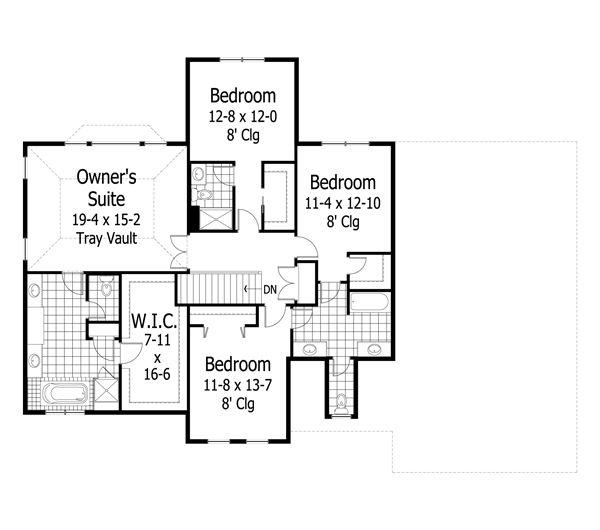 Craftsman Floor Plan - Upper Floor Plan Plan #51-453
