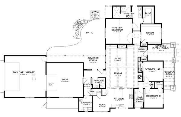 Craftsman Floor Plan - Main Floor Plan Plan #895-9