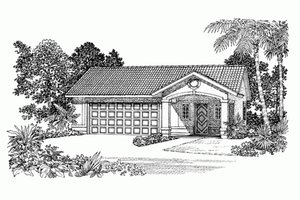 Home Plan Design - Adobe / Southwestern Exterior - Front Elevation Plan #72-282