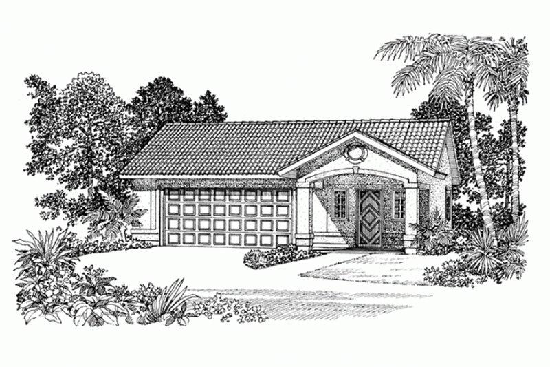 House Blueprint - Adobe / Southwestern Exterior - Front Elevation Plan #72-282