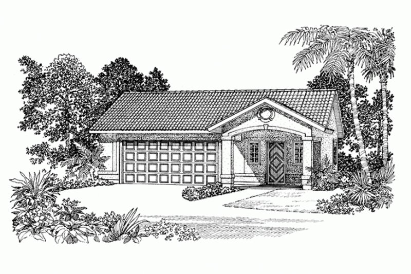 Adobe / Southwestern Exterior - Front Elevation Plan #72-282