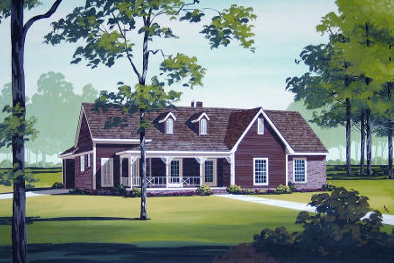 Country Style House Plan - 3 Beds 2 Baths 1892 Sq/Ft Plan #45-327 Exterior - Front Elevation