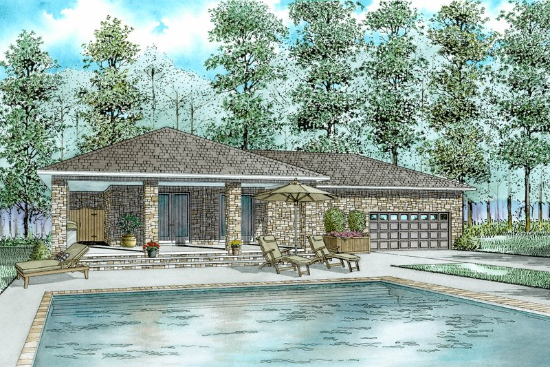 European Style House Plan - 1 Beds 1 Baths 1199 Sq/Ft Plan #17-2576 Exterior - Front Elevation
