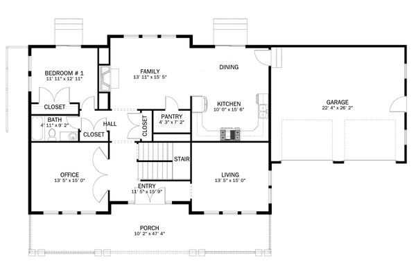 Craftsman Floor Plan - Main Floor Plan Plan #1060-55