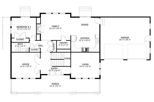 Craftsman Floor Plan - Main Floor Plan #1060-55