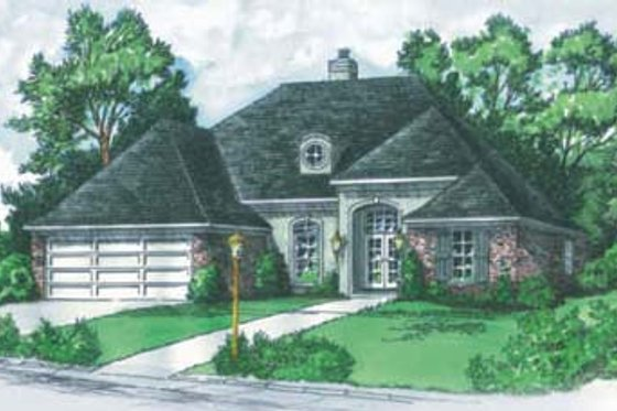 European Exterior - Front Elevation Plan #16-115