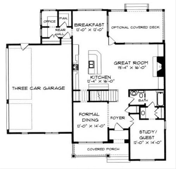 Craftsman Floor Plan - Main Floor Plan Plan #413-102