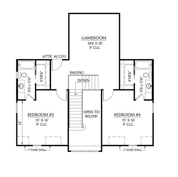 Farmhouse Floor Plan - Upper Floor Plan #1074-29