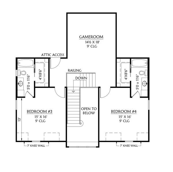 House Plan Design - Farmhouse Floor Plan - Upper Floor Plan #1074-29