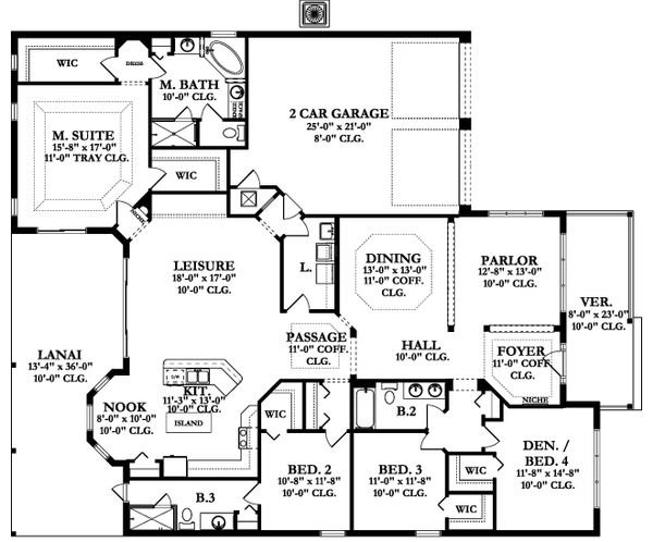 Ranch Floor Plan - Main Floor Plan Plan #1058-165